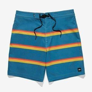 BANKS JOURNAL Board Swim Shorts Rainbow Striped